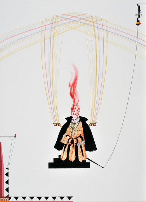 """As he flamed out, the program would tarnish, 29"""" x 21"""", acrylic on paper"""